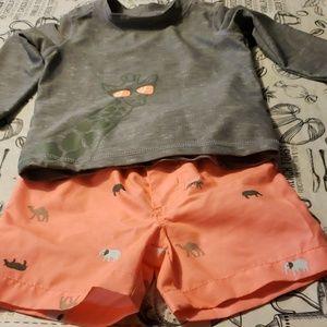 Carters rashguard and swimsuit Like New